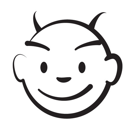Stick figure Devils head, vector drawing on white background