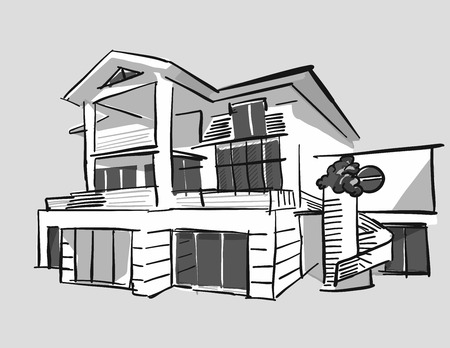 Grayscale drawing dream house, hand drawn vector outline drawing black pen on white ground