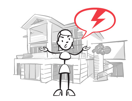 Stick figure woman house insurance case, Stickman vector drawing on white background