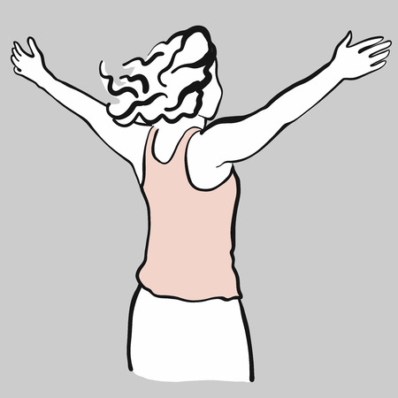cheerfully: Woman pulls arms upwards as a sign of freedom, hand drawn vector outline drawing black pen on white ground