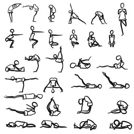 stickmen: Stickmen hand drawn Yoga Poses, various sketches on white background