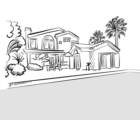 Grayscale Drawing Dream House Hand Drawn Vector Outline