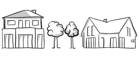 opposing: Family house and villa vector sketch, hand drawn vector outline drawing black pen on white ground