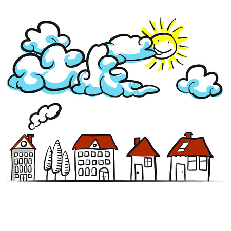 Building sketches 2D with clouds Comic background