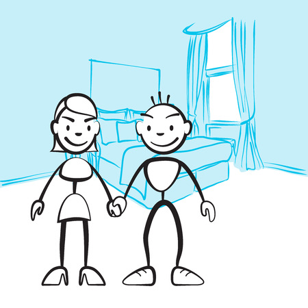Pair of sticky figures for planning interior design, vector drawing on coloured background, ready for color change