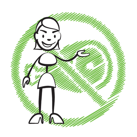 Stick figure woman without meat symbol, Stickman vector drawing on white background Illustration