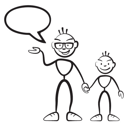 Daddy with son and speech bubble, vector drawing on white background