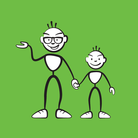 Man and boy explaining situation colored background, vector drawing on white background Illustration