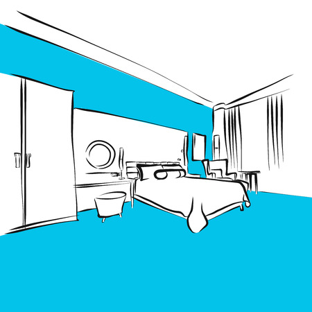 Modern Appartment, King Size Bed, Blue Series, Hand-drawn Vector Artwork