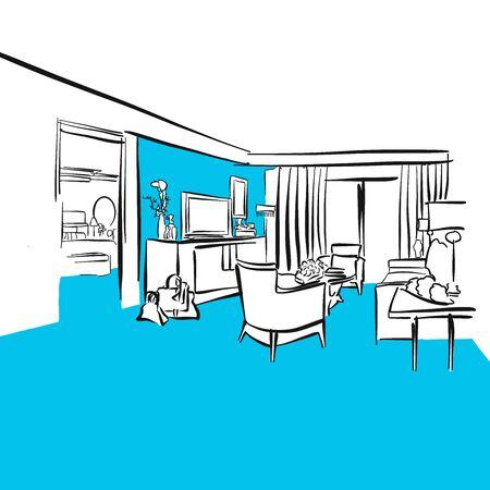 luxury hotel room: Hotel room Luxury apartment, Blue Series, Hand-drawn Vector Artwork