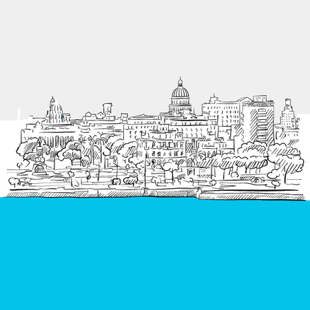 american stories: Havana, Cuba, panorama, Blue Series, Hand-drawn Vector Artwork