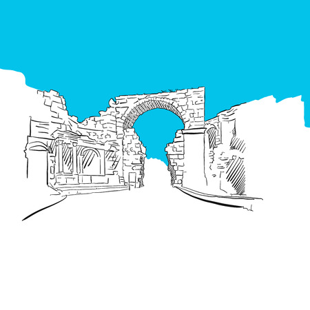 Side, Turkey, Old Town Gate, Blue Series, Hand-drawn Vector Artwork Illustration