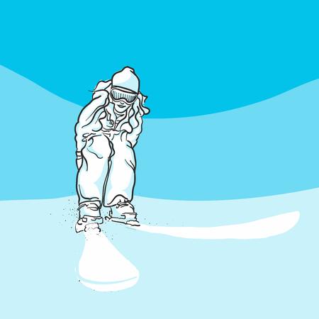 piste: Skiing on slopes, Blue Series, Hand-drawn Vector Artwork Illustration