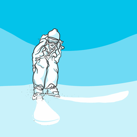 Skiing on slopes, Blue Series, Hand-drawn Vector Artwork Illustration