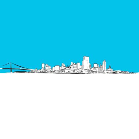 Los Angeles panorama, Blue Series, Hand-drawn Vector Artwork Illustration