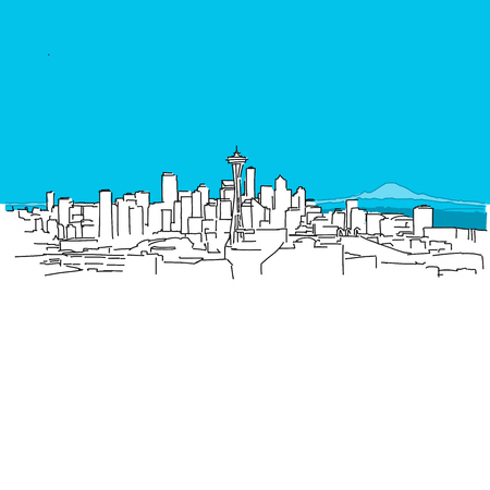 Seattle skyline panorama, Blue Series, Hand-drawn Vector Artwork