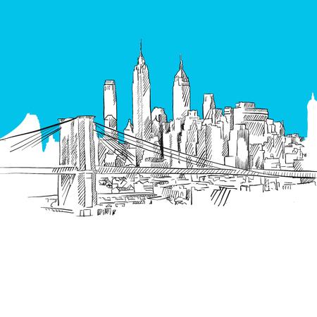 Manhattan with Brooklyn Bridge, Blue Series, Hand-drawn Vector Artwork Illustration
