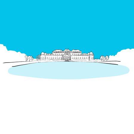Schloss Bevedere, Vienna, Blue Series, Hand-drawn Vector Artwork Illustration