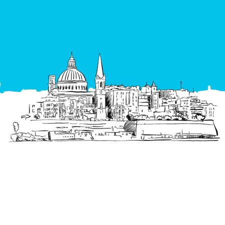 malta cities: Valetta, Malta Panorama, Blue Series, Hand-drawn Vector Artwork