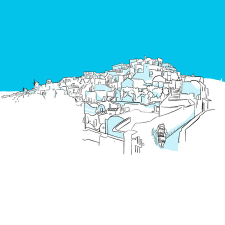 Oia Panorama, Greece, Blue Series, Hand-drawn Vector Artwork Illustration