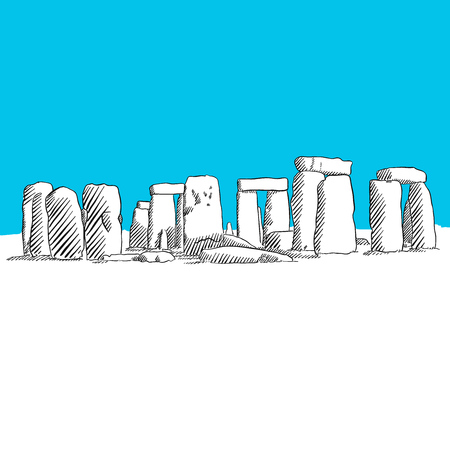 Stonehenge drawing, Blue Series, Hand-drawn Vector Artwork
