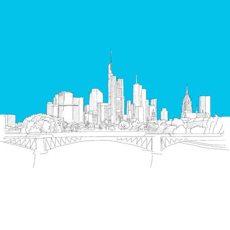 Frankfurt skyline, Blue Series, Hand-drawn Vector Artwork