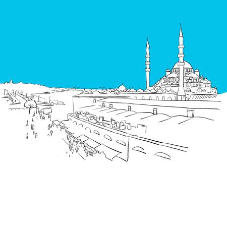 Istanbul Panorama drawing, Blue Series, Hand-drawn Vector Artwork