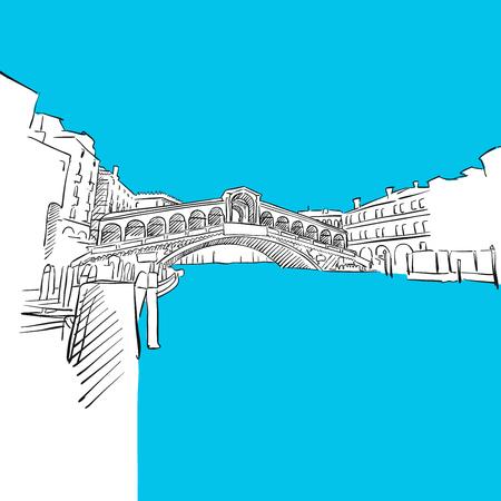 rialto: Venice Rialto Bridge, Italy, Blue Series, Hand-drawn Vector Artwork Illustration