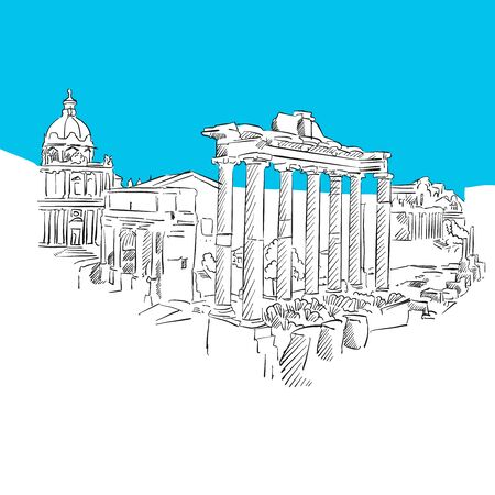 roman pillar: Forum Romanum, Rome, Blue Series, Hand-drawn Vector Artwork Illustration
