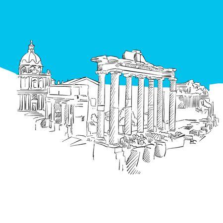 Forum Romanum, Rome, Série bleue, Dessins dessinés à la main