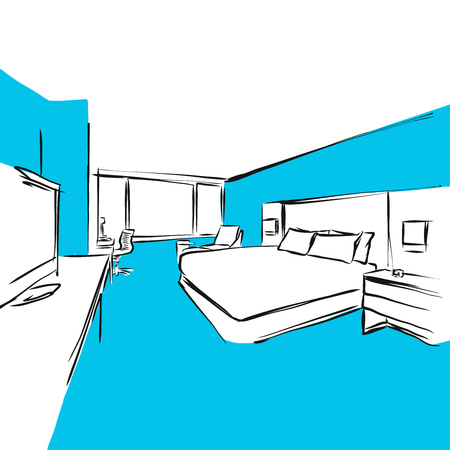 hotel room: Hotel Room Double Bed Modern, Blue Series, Hand-drawn Vector Artwork