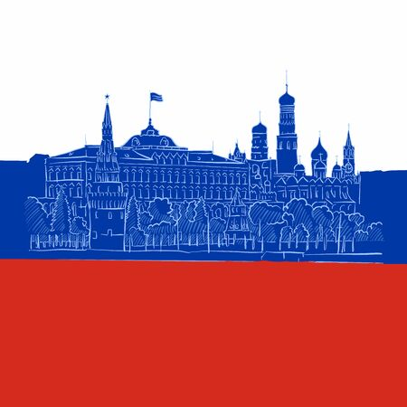 Kremlin Panorama in Russian flag, hand-drawn vector outline Artwork Icon