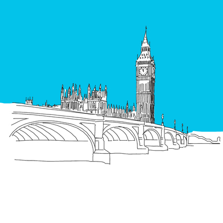 houses of parliament   london: Westminster and Big Ben, hand-drawn vector drawing, blue series