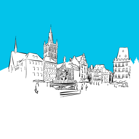 Trier Main Market, hand-drawn vector drawing, blue series Illustration