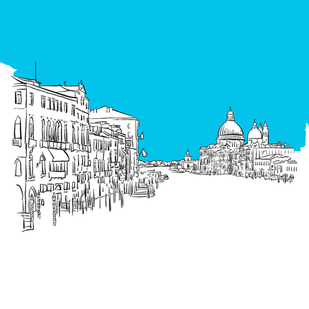 market place: Venice Grande Canale, hand-drawn vector drawing, blue series Illustration