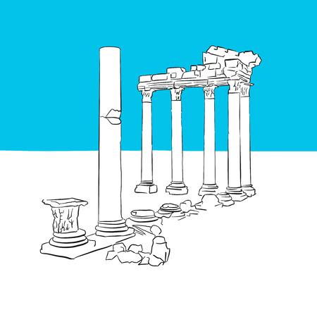 Temple of Apollon, Antalya, Turkey, hand-drawn vector drawing, blue series