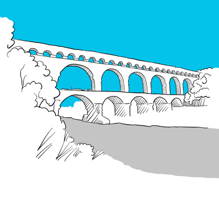 Aqueduct Avignion, France, hand-drawn vector drawing, blue series