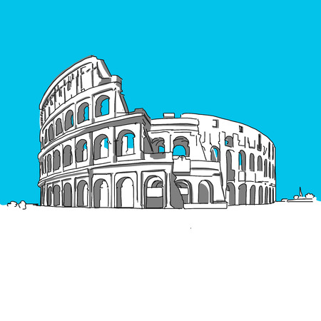 rom: Colosseum Rom, hand-drawn vector drawing, blue series