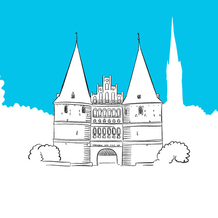holstein: Holstentor Lubeck, hand-drawn vector drawing, blue series