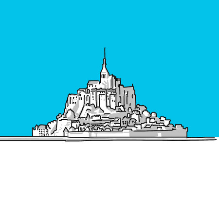 normandy: Mt Saint Michel, France, hand-drawn vector drawing, blue series