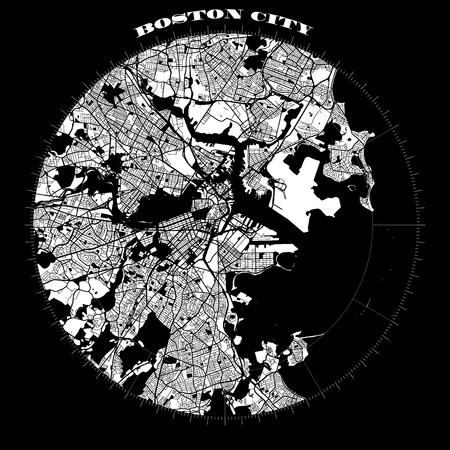 Boston Compass Design Map Artprint, Vector Outline Version, ready for color change, Separated On White