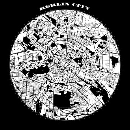 Berlin Compass Design Map Artprint, Vector Outline Version, ready for color change, Separated On White Ilustração