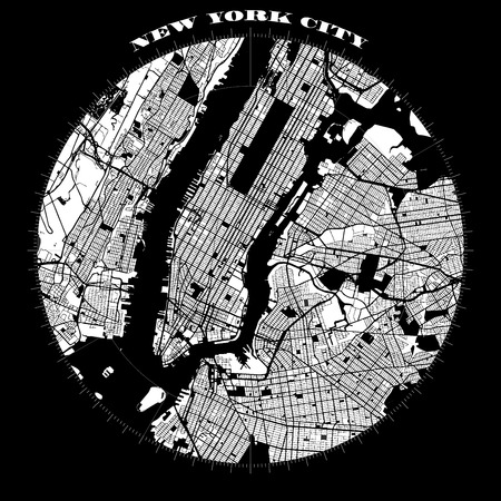 New York City Manhattan Compass Design Map, Vector Outline Version, ready for color change, Artprint