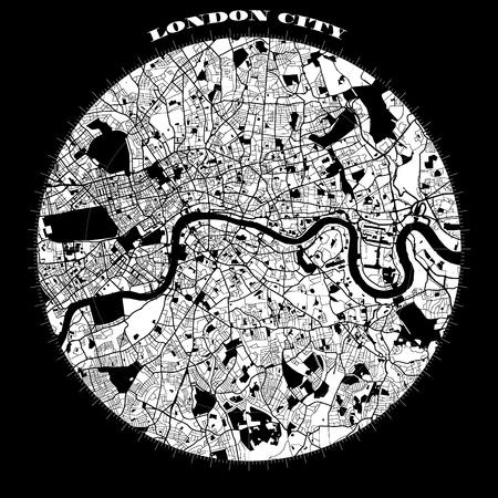 London Compass Design Karte Kunstdruck, Vektor Umriss Version, bereit für den Farbwechsel, Getrennt Auf Weiß Vektorgrafik