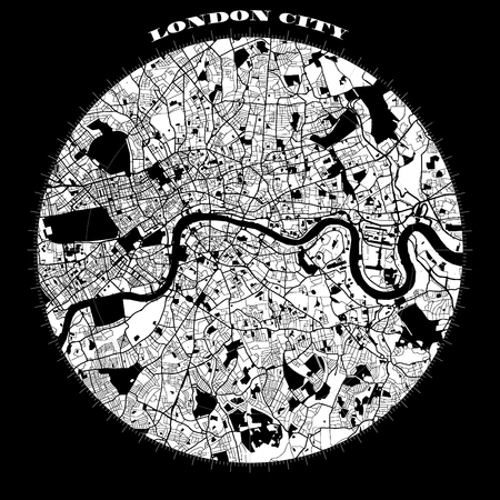 London Compass Design Map Artprint, Vector Outline Version, ready for color change, Separated On White Illustration
