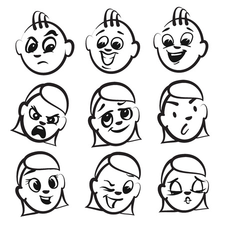 grown with love: Stick figure series emotions - Nine faces, Hand drawn Vector Artwork