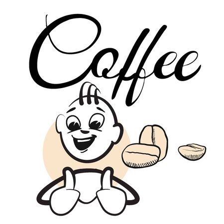 typo: Stick figure Coffee break Coffee Typo, hand drawn vector artwork Illustration