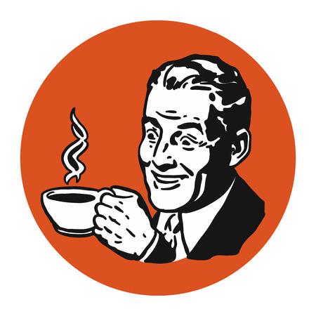 man with coffee cup vintage logo hand drawn vector artwork royalty rh 123rf com vector artwork file vector artwork software free