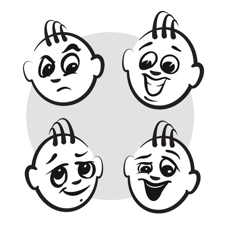 grown with love: Stick figure series emotions - Guys faces, Hand drawn Vector Artwork Illustration