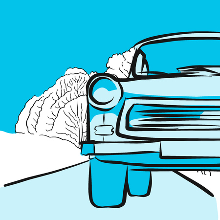 snow tires: Trabant in winter on icy road, Hand drawn Vector Artwork
